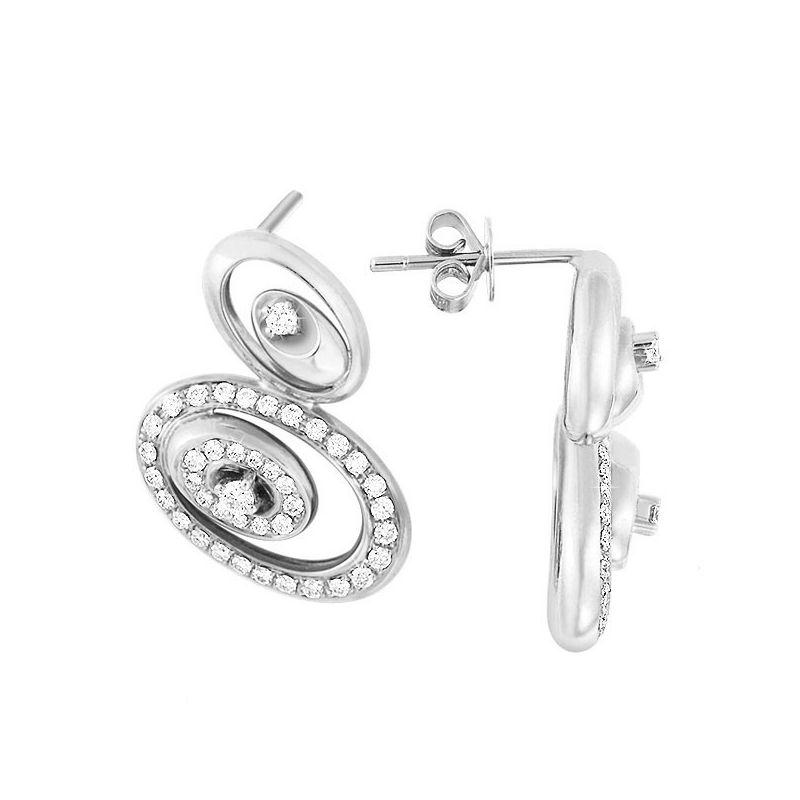 Boucle d oreille or blanc LOVE - Pendants modernes en diamants