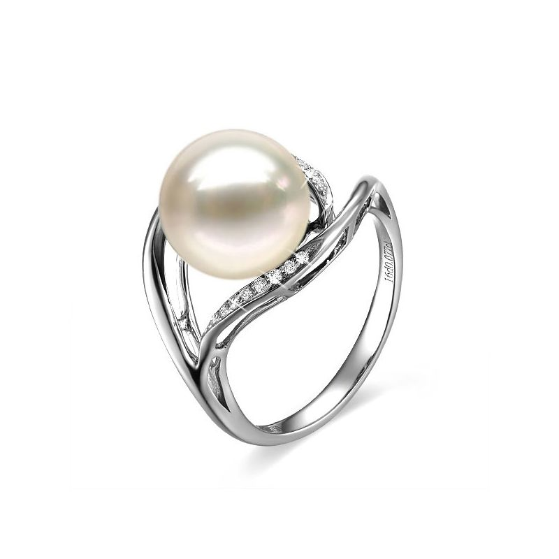 Bague femme perle - Or blanc, diamants - Perle de culture blanche