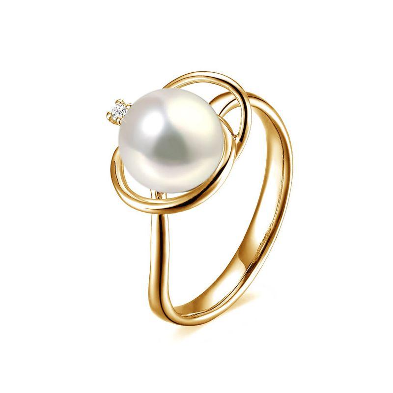 Bague perle d'eau douce blanche - 9/10mm, AAA - Or jaune, diamant