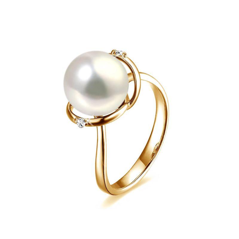 Bague or jaune style circulaire - Perle de culture - 2 diamants sertis
