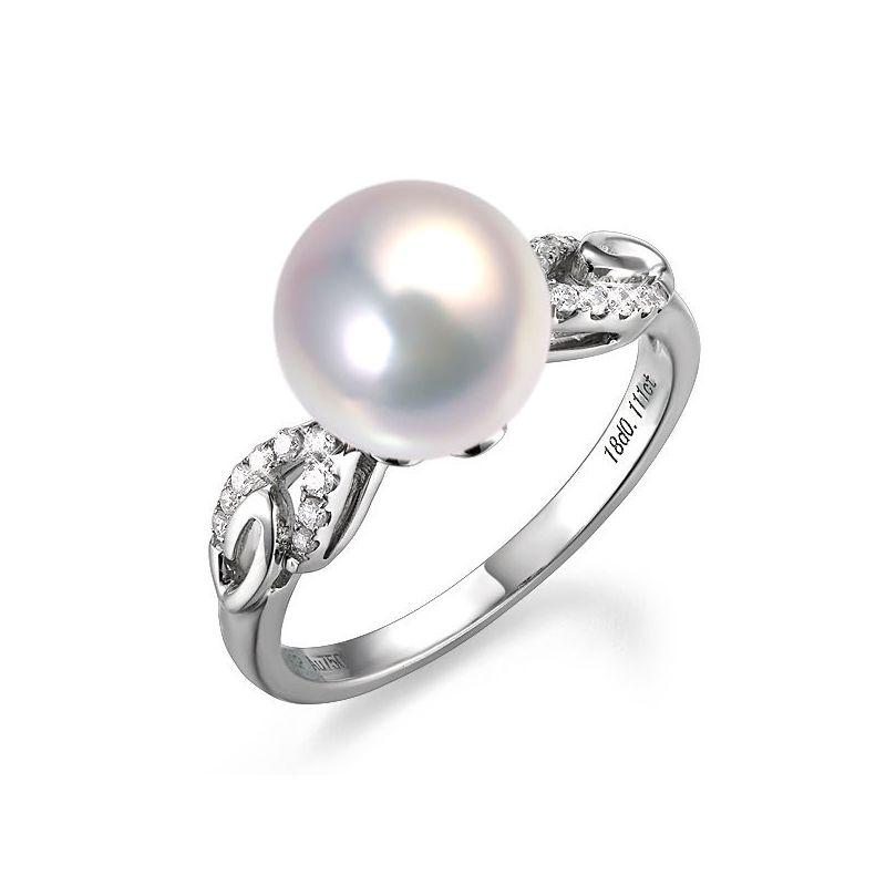 Bague du couple danseur - Perle eau douce - Or blanc 18cts, diamants