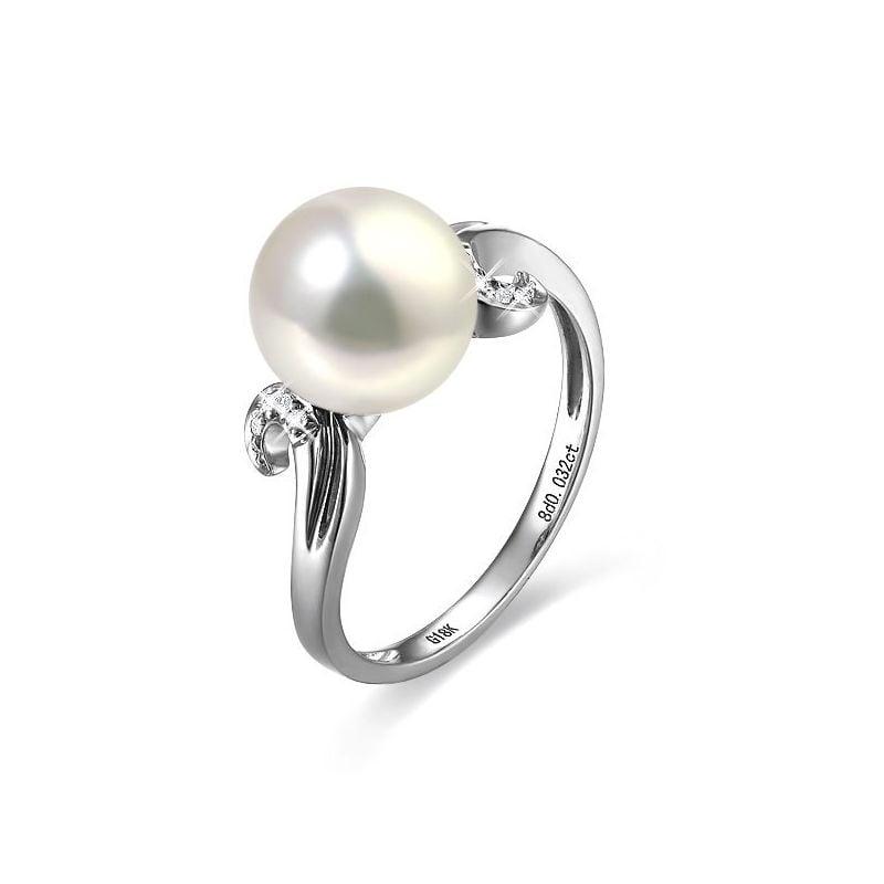 Bague note de musique - Perle de culture blanche, or blanc diamants