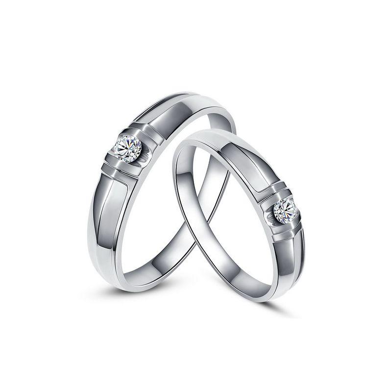 Alliances solitaires sophistiqués - Alliances duo - Or blanc, Diamants