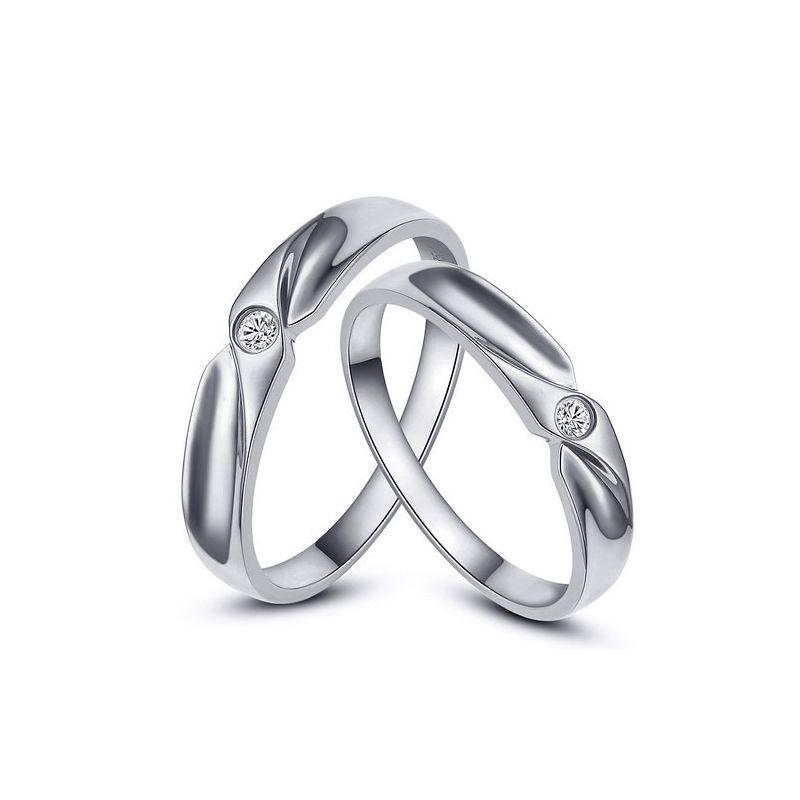 Alliance originale or blanc - Alliance Couple - Diamant