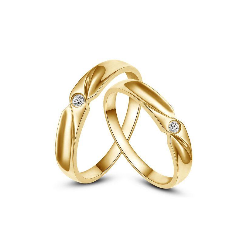 Alliance originale or jaune - Alliance Couple - Diamant