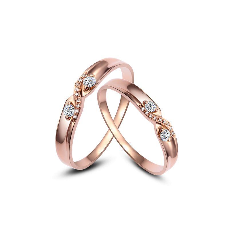 Alliances mariage diamants - En or rose - Pour homme et femme