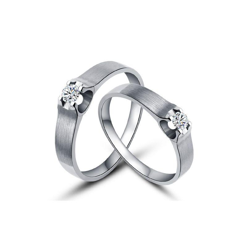 Alliances or blanc et diamants - Alliances solitaires pour Couple