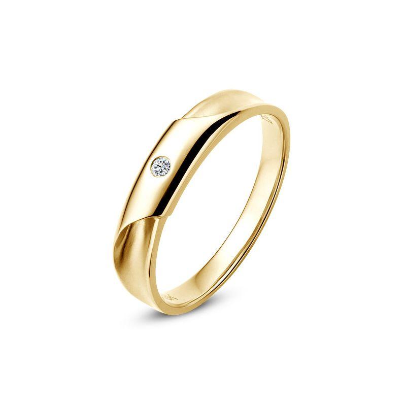Alliance Homme. Or jaune. Diamant 0.045ct