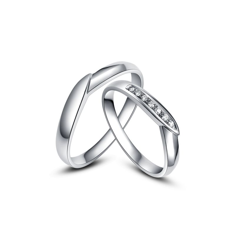 Alliance de mariage duo - Or blanc - Diamant