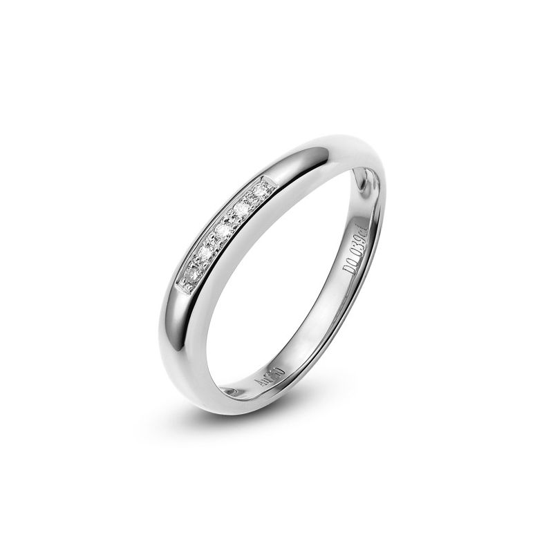 Alliance Femme. Or blanc. Diamants 0.040ct