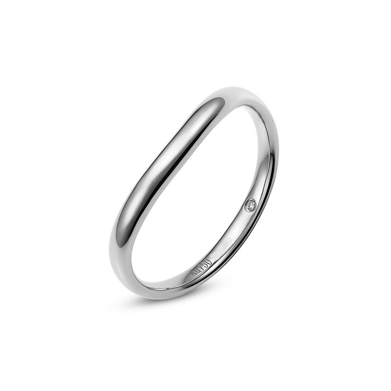 Alliance Homme. Or blanc. Diamant 0.011ct