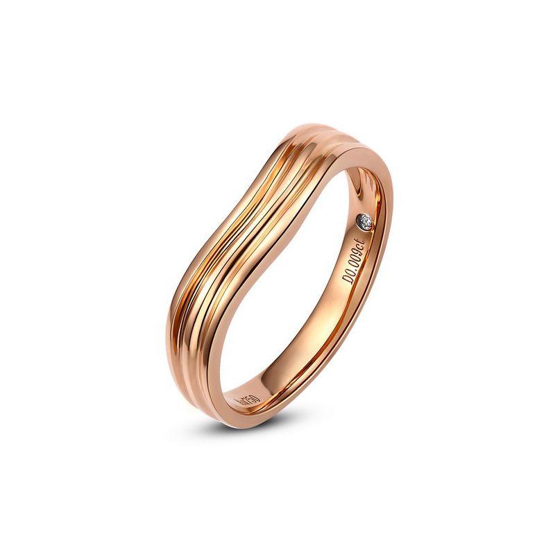 Alliance ondulée motifs striés - Or rose 18cts - Diamant - Femme