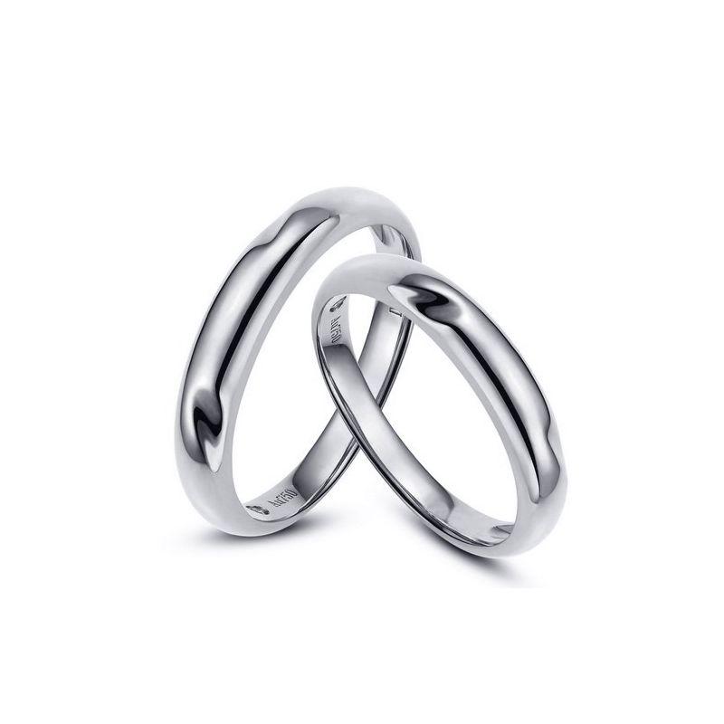 Alliances en or rondes - Duo d'alliances Or blanc - Diamants