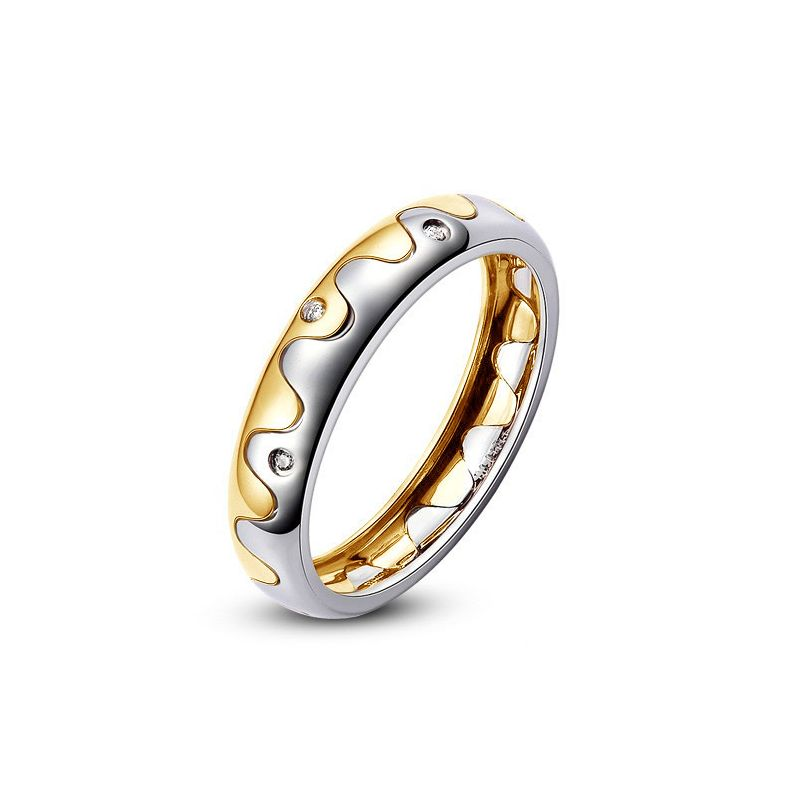 Alliance 2 ors - Alliance Femme or blanc et jaune - Diamants