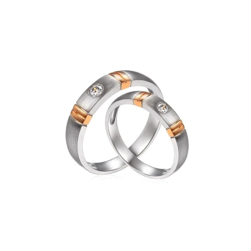 Alliances Couple. 2 Ors. Diamants 0.130ct