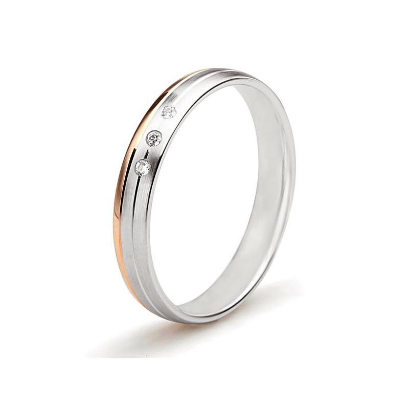 Alliance 2 ors liés - Bague créative pour Femme - Diamants clos