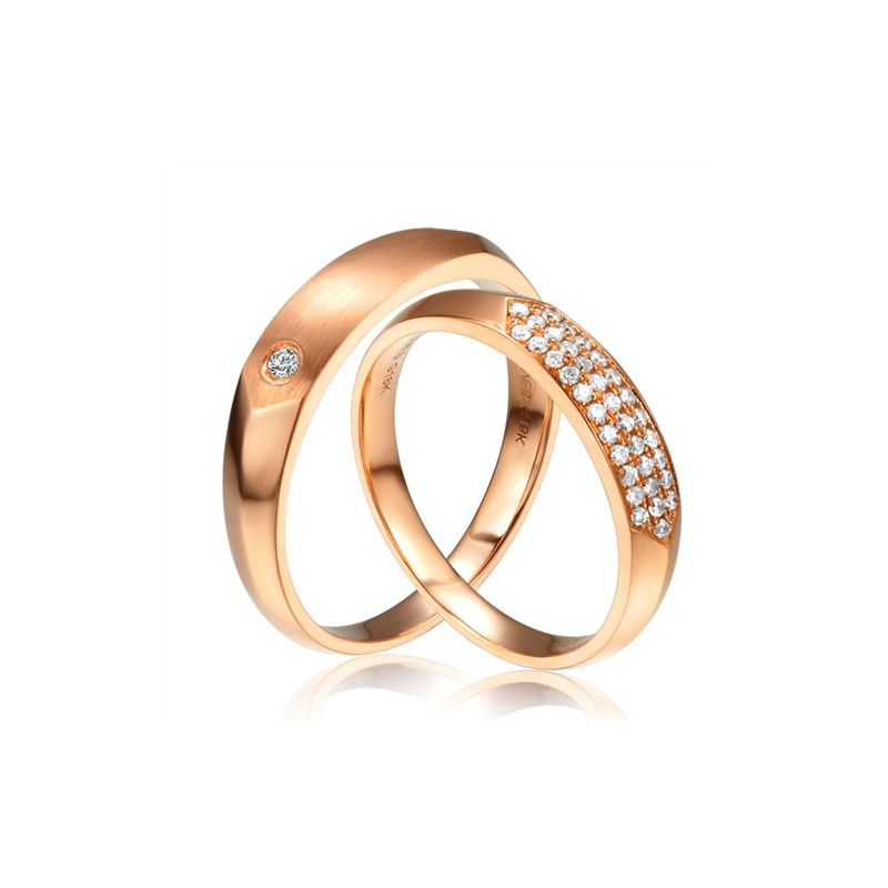 Alliances Couple - Or Rose - Diamants