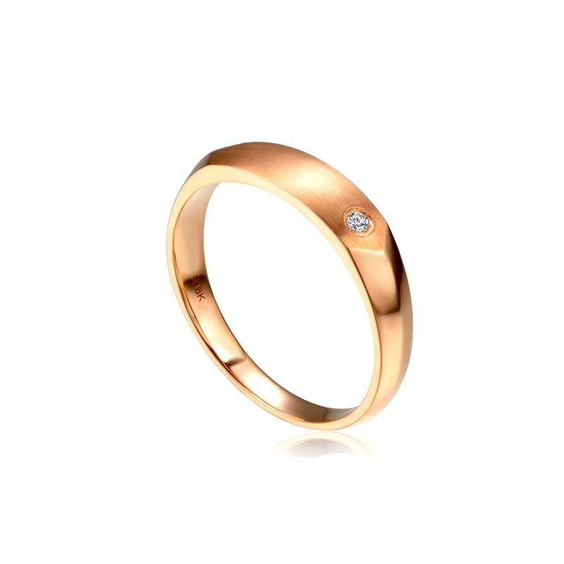 Alliance homme taillée en oblique - Or rose 750/1000, Diamant