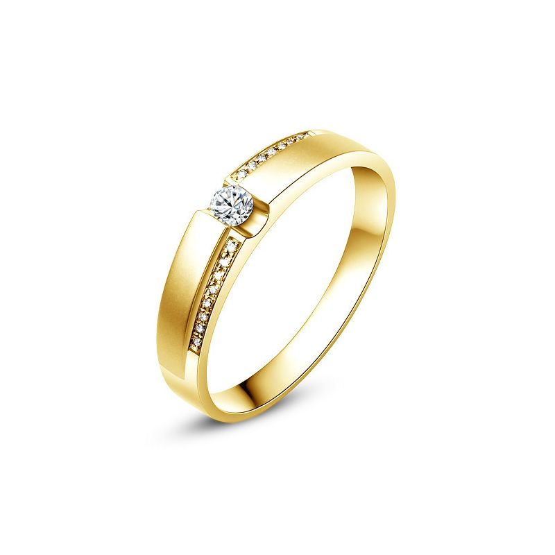 Alliance solitaire or jaune 750/1000 - Bague Femme diamants