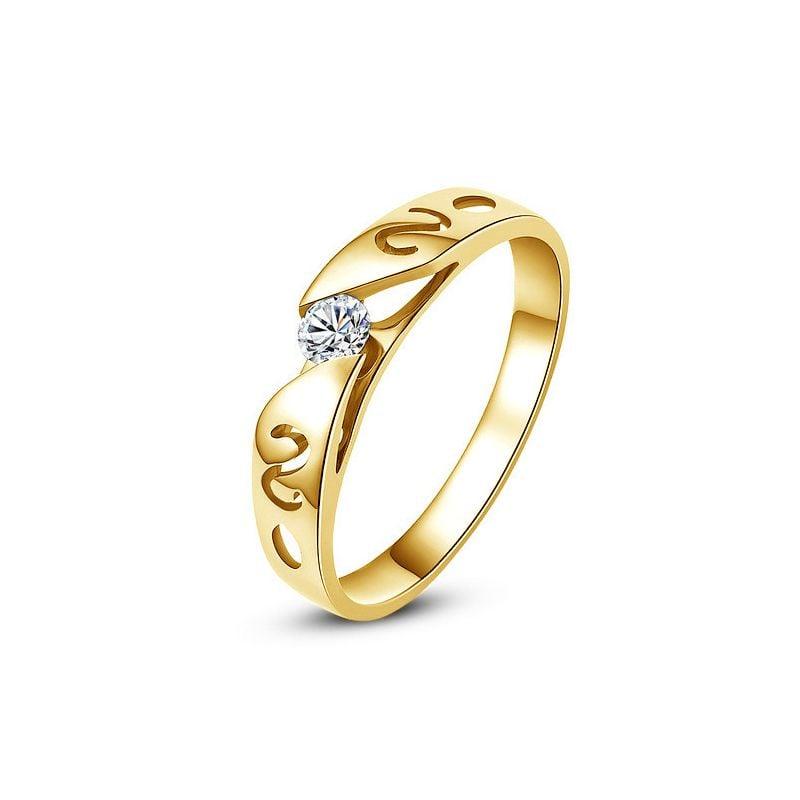 Mon alliance de mariage - Alliance originale or jaune, diamant - Femme