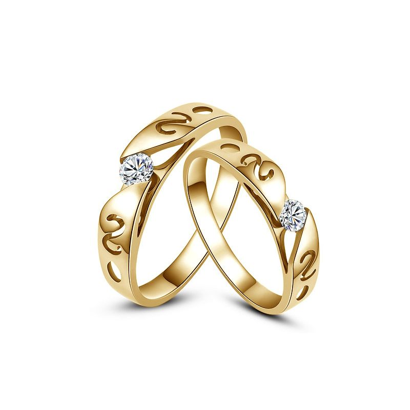 Mes alliances de mariage - Alliances Duo originales or jaune, diamants
