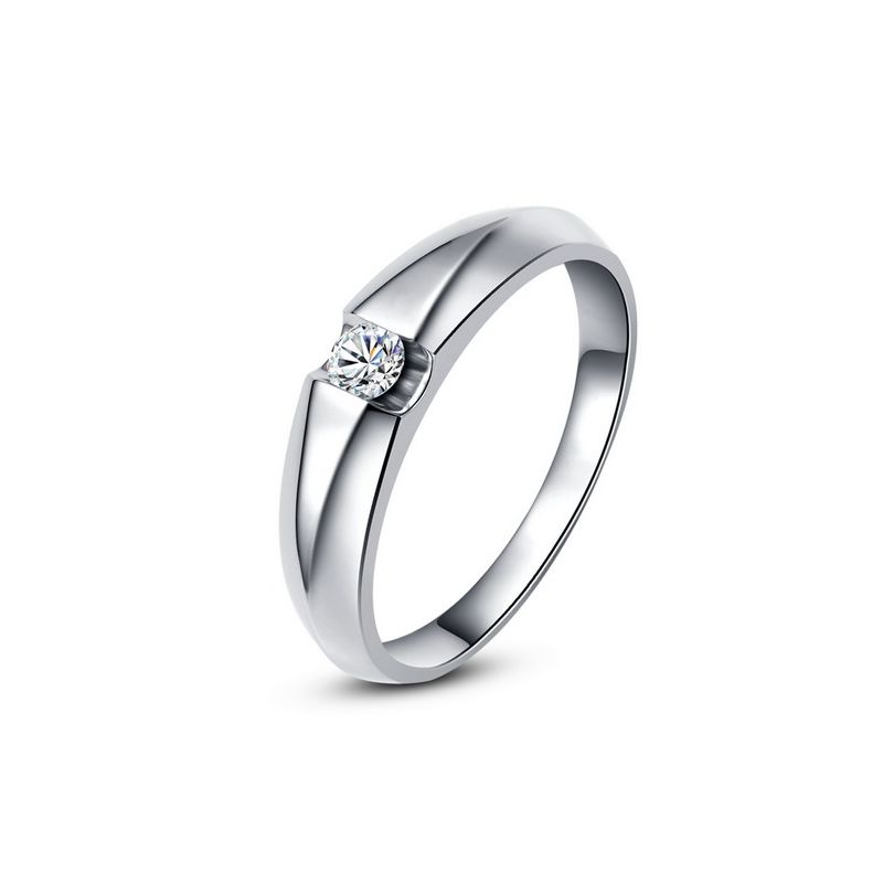 Alliance solitaire or blanc - Bague alliance diamant pour Homme