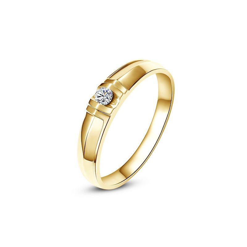 Alliance solitaire sophistiqué - Alliance femme - Or jaune, Diamant
