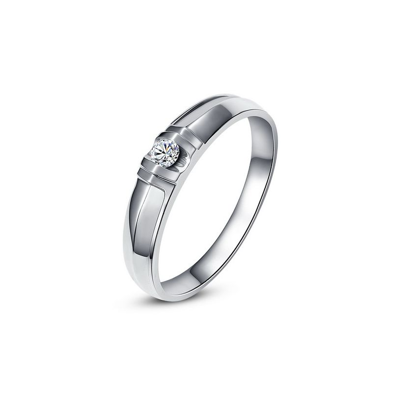 Alliance solitaire sophistiqué - Alliance homme - Or blanc, Diamant