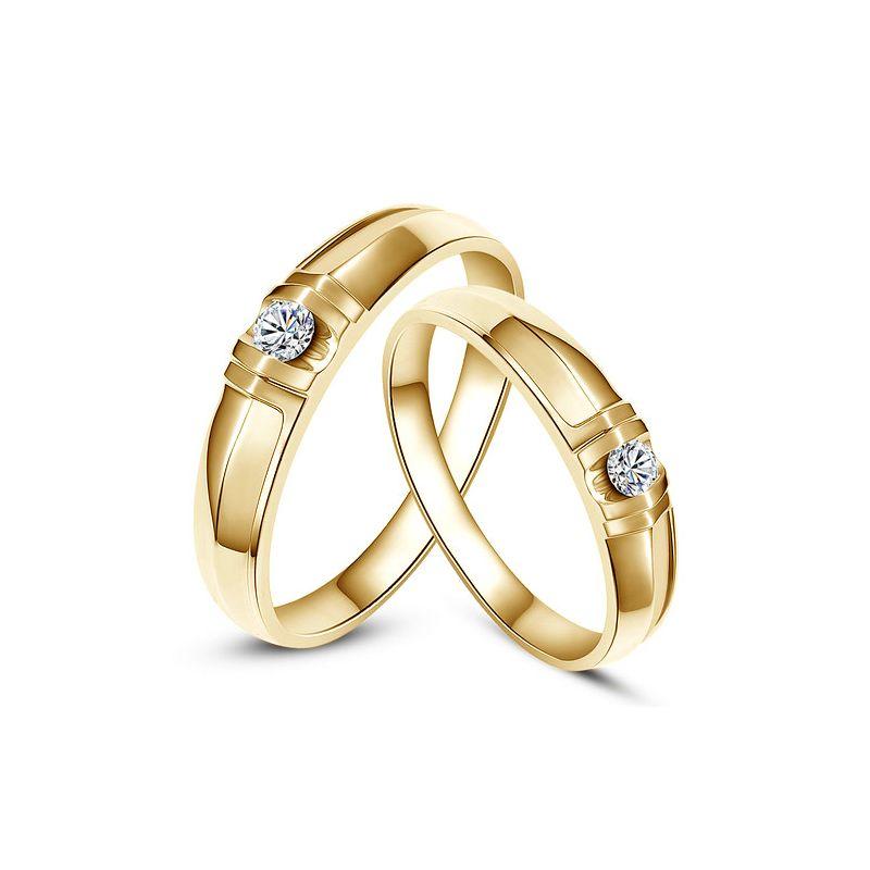 Alliances solitaires sophistiqués - Alliances duo - Or jaune, Diamants