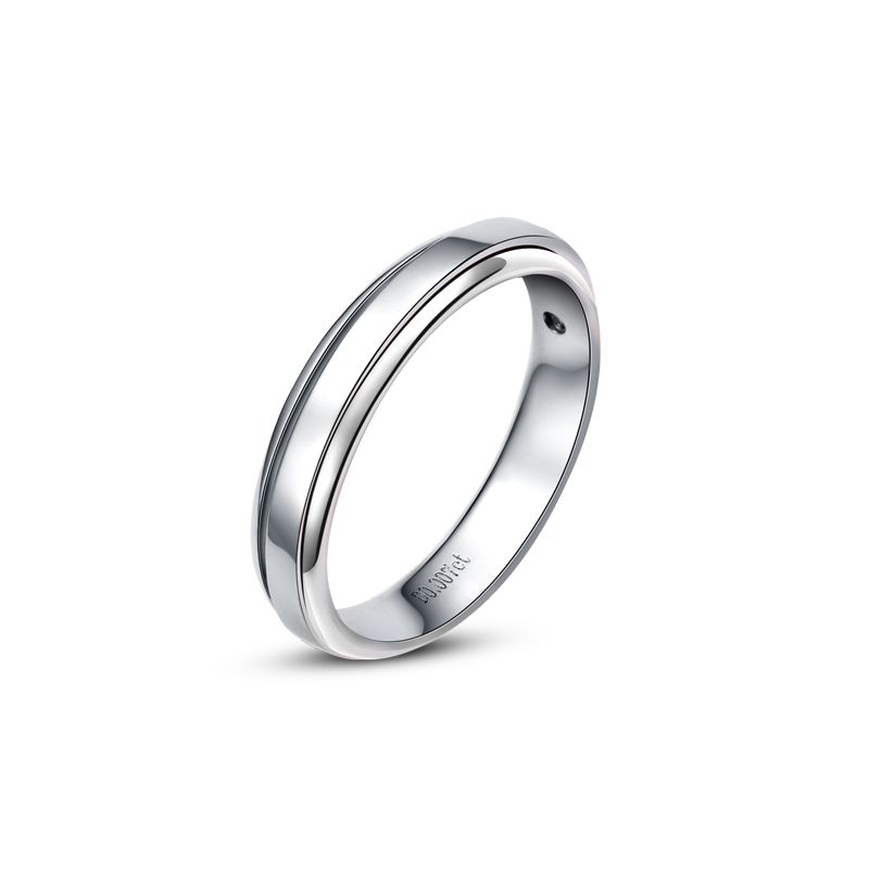 Anneau d'or blanc 750/1000 - Alliance androgyne Femme - Diamant