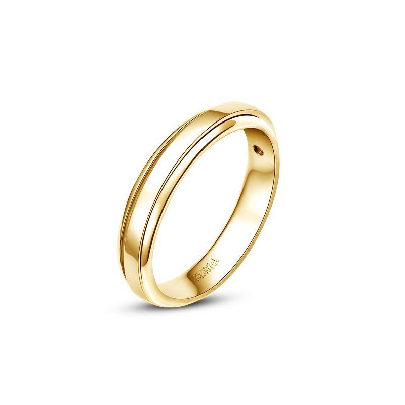 Bague Homme - Alliance de fiançaille - Or jaune - Diamant 0.006ct