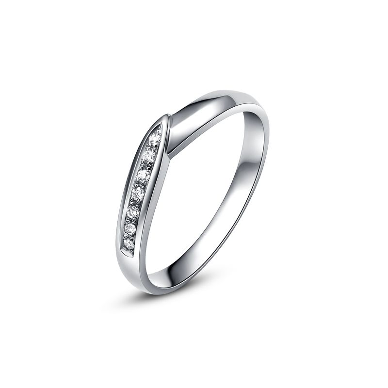 Alliance de mariage femme - Or blanc - Diamant