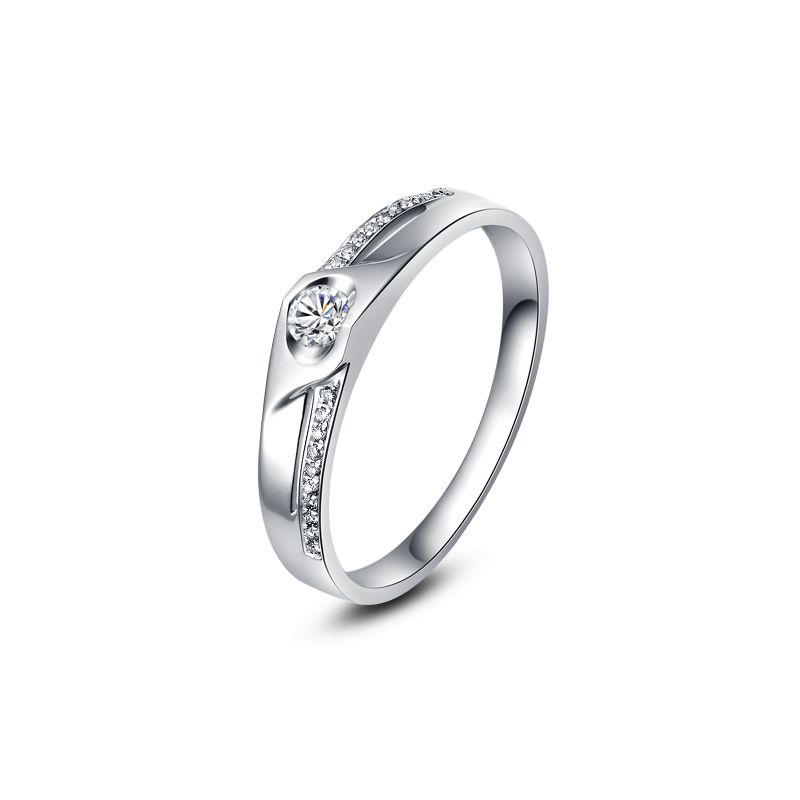 Alliance Homme solitaire diamants - Alliance moderne Or blanc 18cts