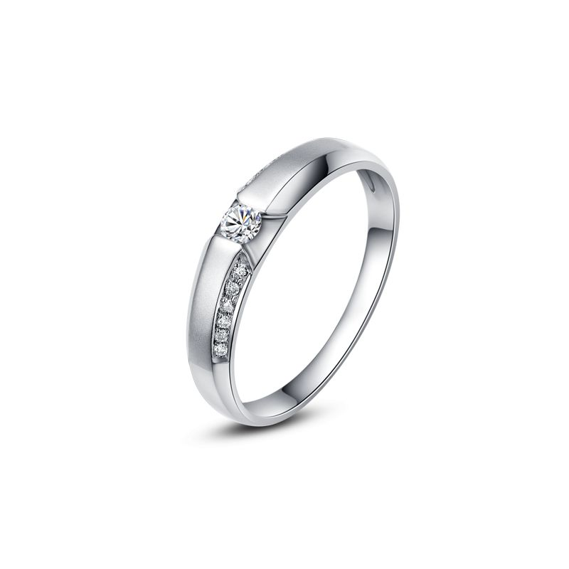 Achat alliance mariage - Alliance Solitaire Homme - Or blanc, diamants