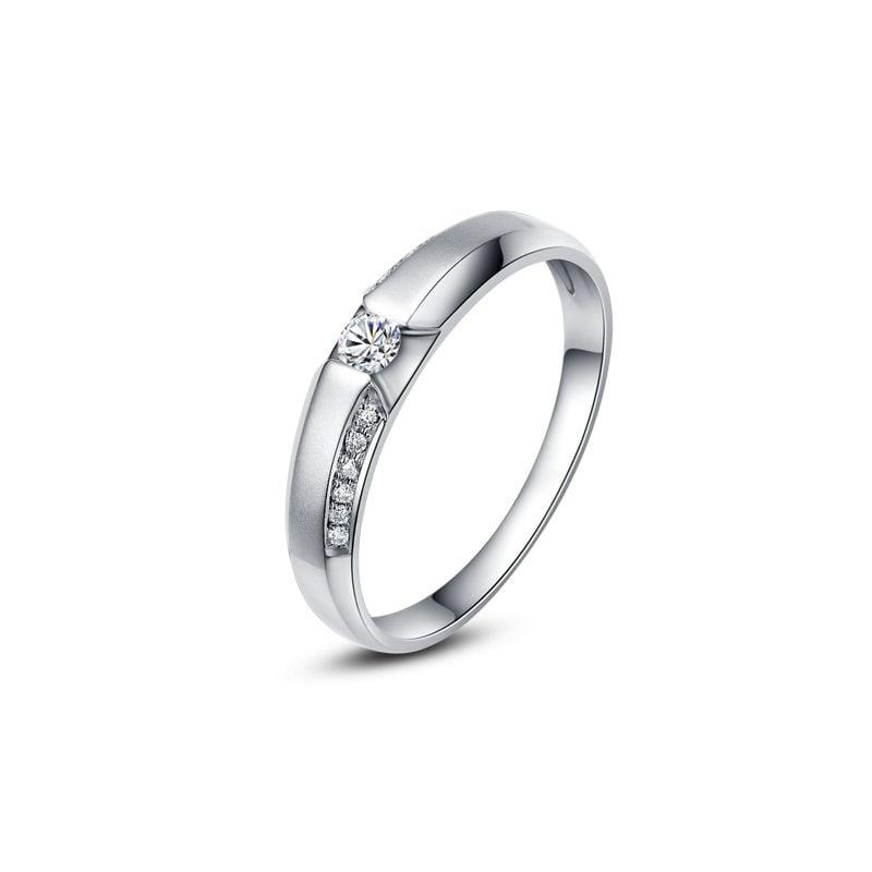 Achat alliance mariage - Alliance Solitaire Homme - Or blanc, diamants