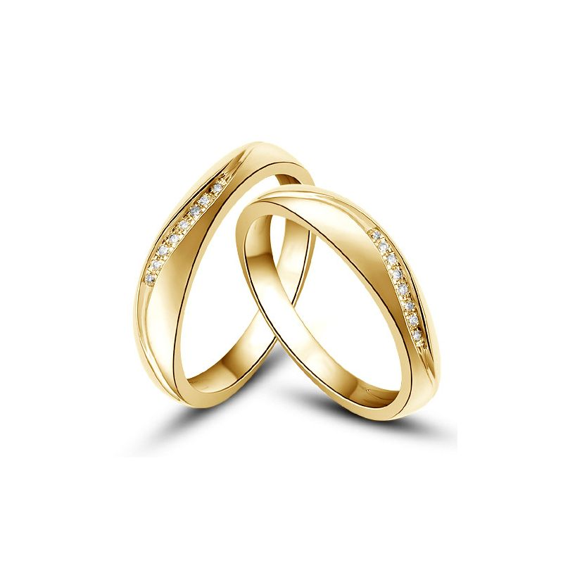 Alliances or mariage - Alliances diamants - Or jaune, Couple