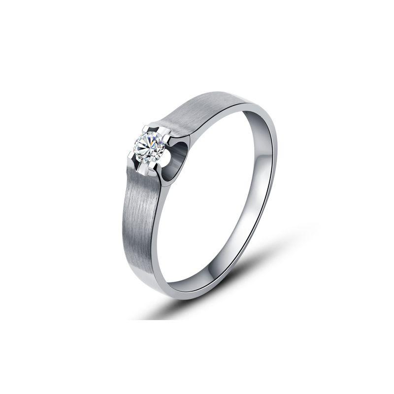 Alliance or blanc et diamant - Alliance solitaire pour Femme