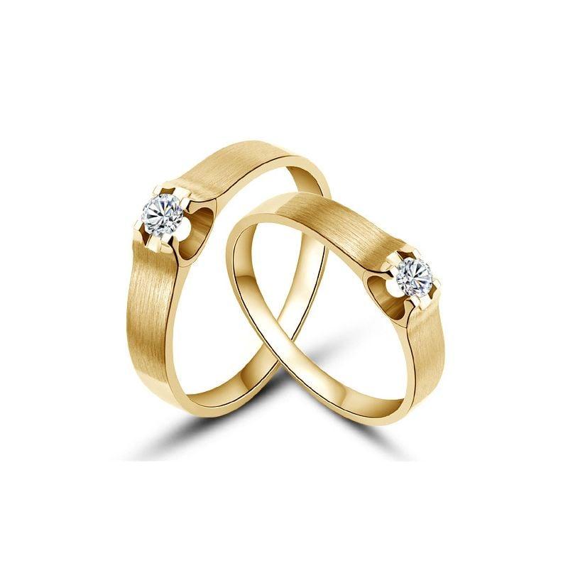 Alliances or jaune et diamants - Alliances solitaires pour Couple