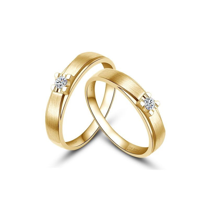 Alliances solitaires or - Alliances Duo - Or jaune - Diamants