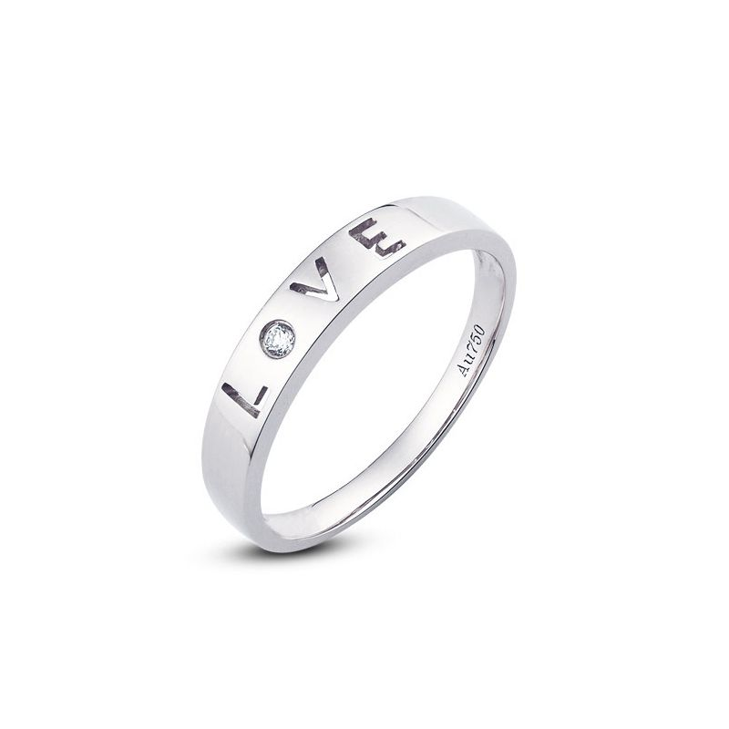 Alliance Love - Alliance femme or blanc - Diamant