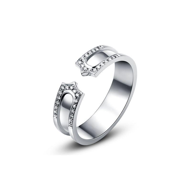 Alliance or blanc originale - Anneau discontinu pour Elle - Diamants