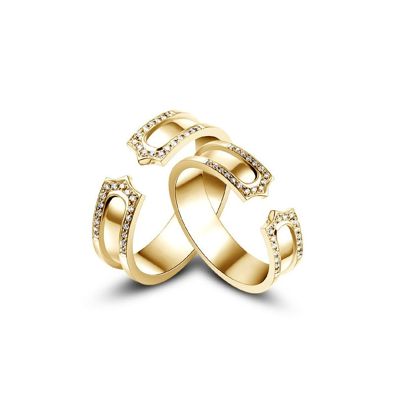 Alliances or jaune originales - Anneaux discontinus Couple - Diamants