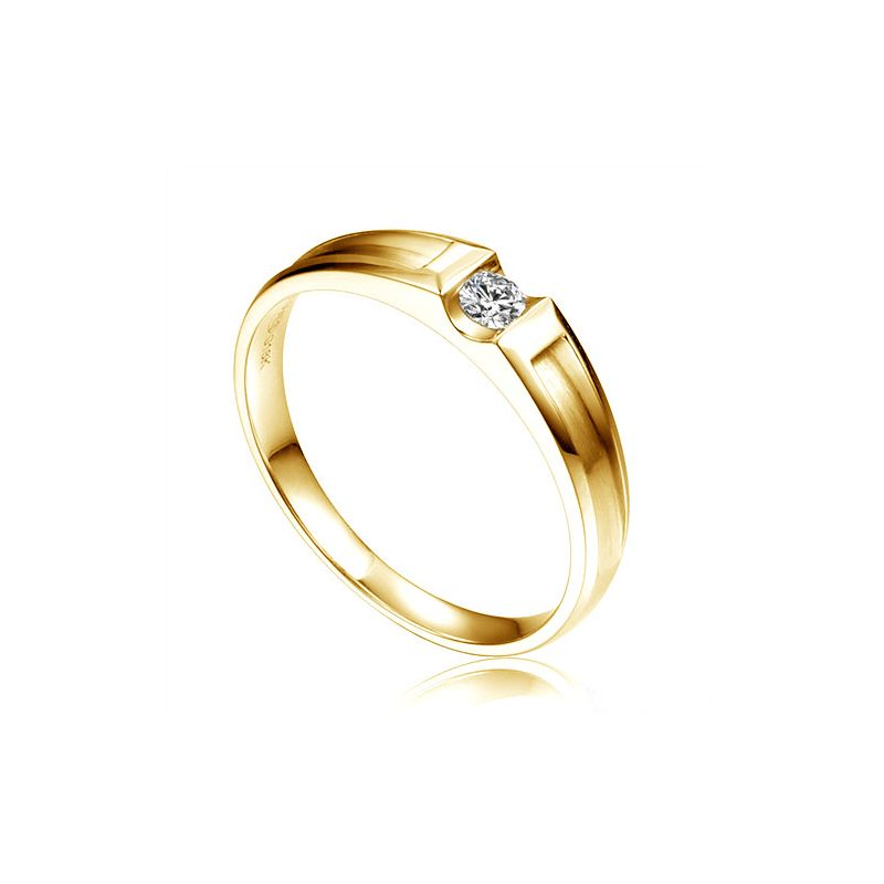 Alliance solitaire diamant -  Alliance Homme or jaune 18cts