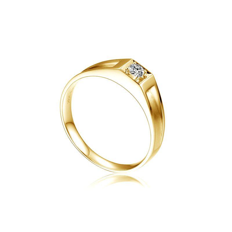 Alliance de type solitaire - Alliance Homme en or jaune et diamant