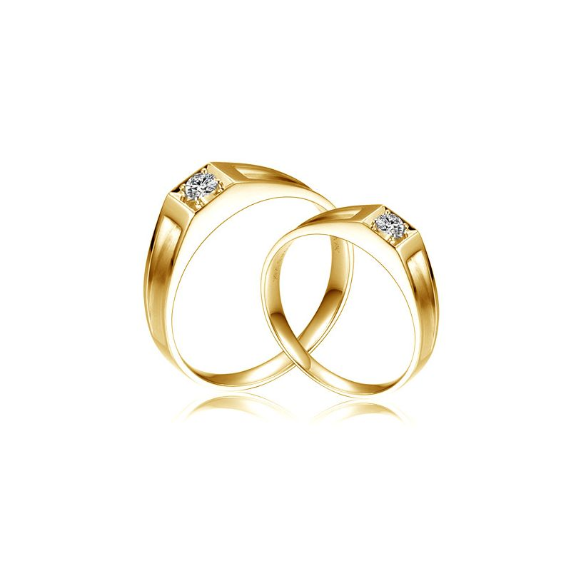 Alliances de type solitaire - Alliances Duo en or jaune et diamants