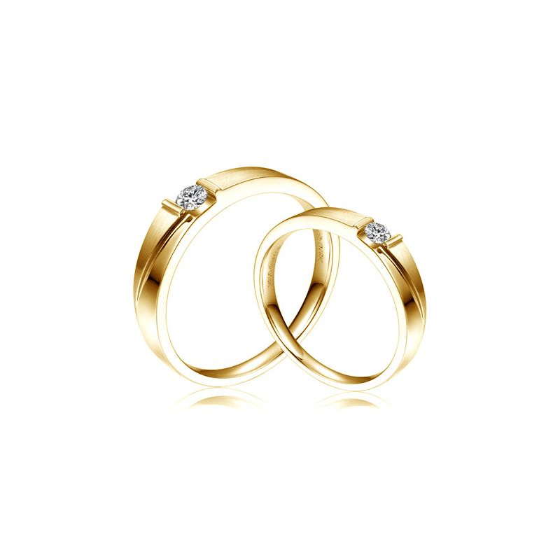 Alliances diamants sertissage demi clos - Métal or jaune 18cts - Duo