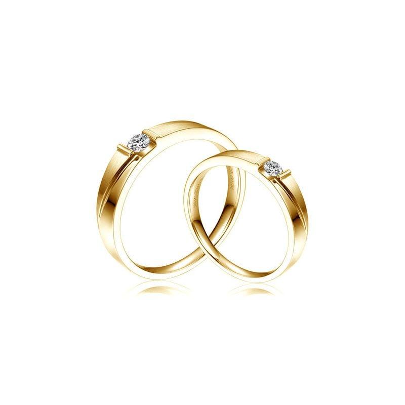 Alliances diamants sertissage demi clos - Métal or jaune 18cts - Duo