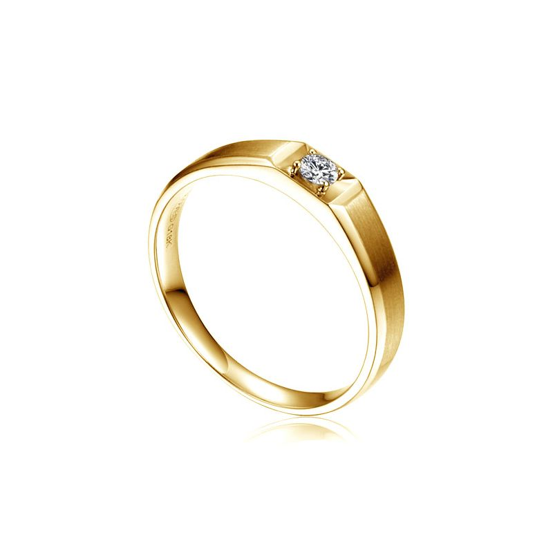 Anneau solitaire Femme - Alliance or jaune diamant serti grain