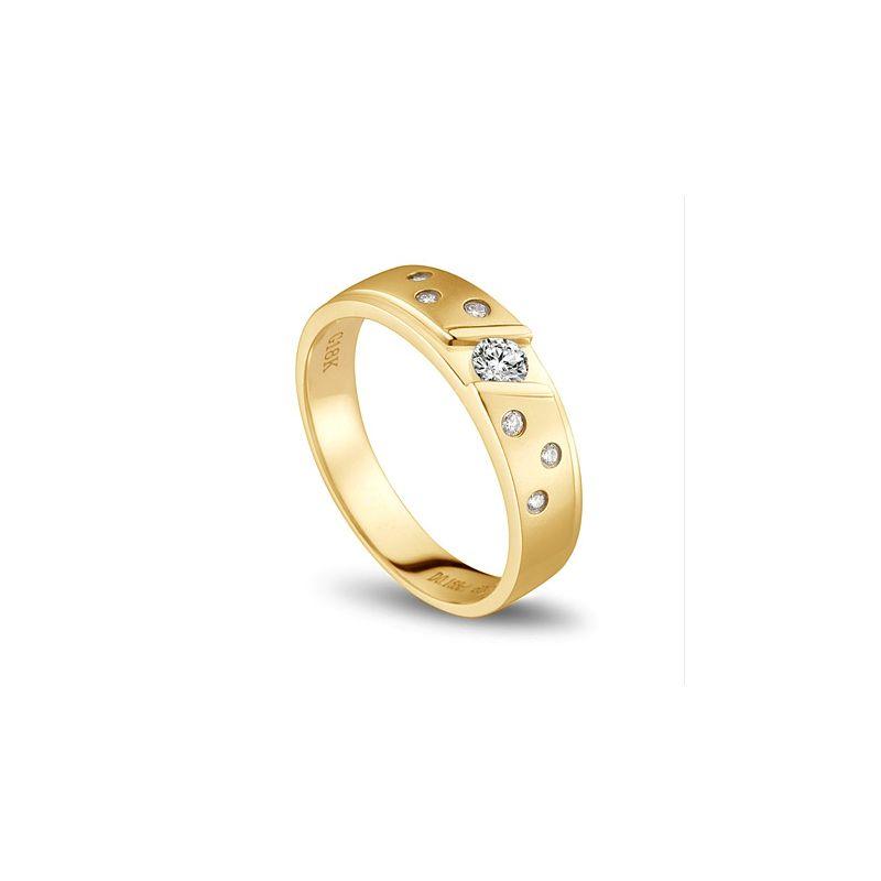Bague alliance constellation diamantée - En or jaune 18cts - Homme