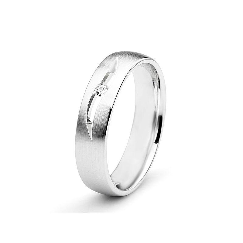 Alliance diamant or blanc - Lignes pures et découpées - Femme